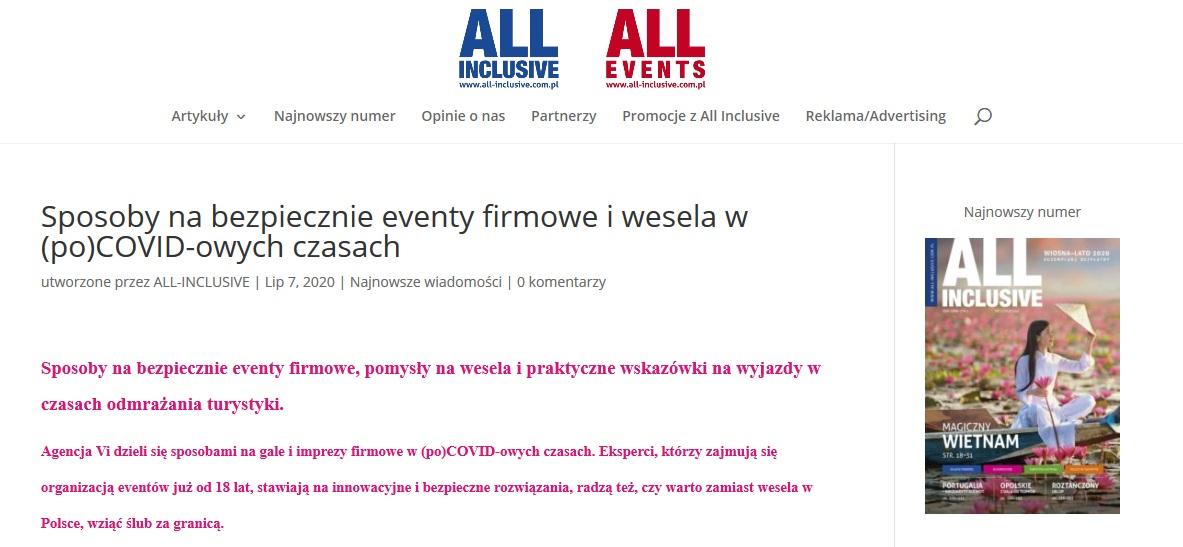 Screenshot 2020 07 09 Sposoby nabezpiecznie eventy firmowe iwesela wpoCOVID owych czasach All Inclusive