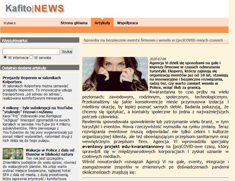 Screenshot 2020 07 14 Sposoby nabezpiecznie eventy firmowe iwesela wpoCOVID owych czasach Serwis prasowy