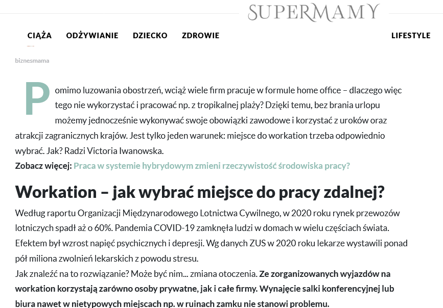 Workation co tojest Super Mamy