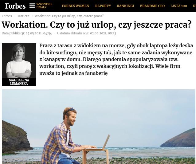 Workation praca zwakacyjnych lokalizacji trend narynku czyfanaberia Kariera Forbes pl